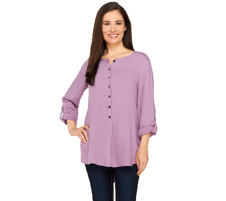 LOGO by Lori Goldstein Button Front Twill Top with Roll Sleeves