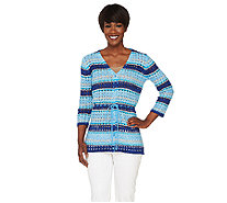 Liz Claiborne New York Striped Pointelle Cardigan - A263435