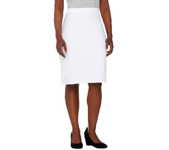Susan Graver Weekend French Terry Comfort Waist Slim Skirt - A265035