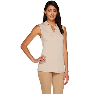 Susan Graver Liquid Knit Sleeveless Top with Johnny Collar