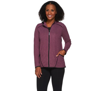 LOGO Lotus by Lori Goldstein Brushed Knit Jacket with Mesh Trim - A266535