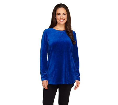 """As Is"" Denim & Co. Active Petite Velour Tunic"