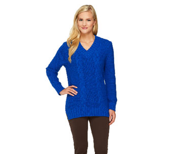 """As Is"" Susan Graver Cable Stitch V-Neck Sweater with Hi-Low Hem - A268335"