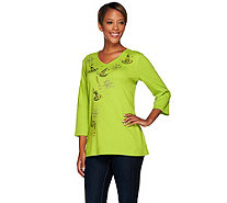 Quacker Factory Witch's Brew Embellished 3/4 Sleeve T-shirt - A268435