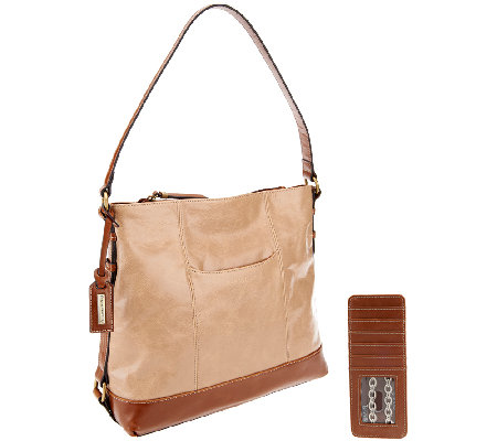 """As Is"" Tignanello Distressed Leather Hobo"