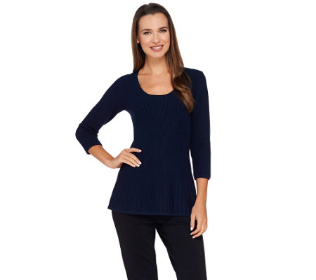 G.I.L.I. 3/4 Sleeve Scoop Neck Sweater Knit Peplum Top