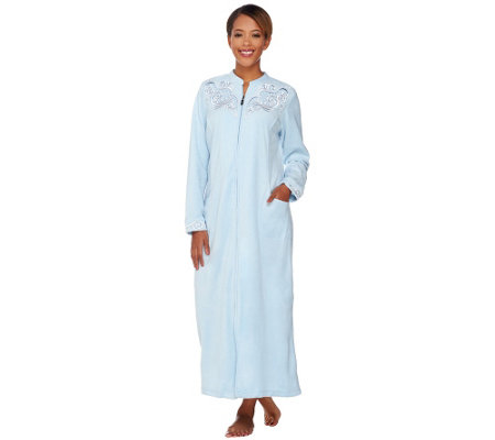 Bob Mackie's Embroidered Zip Front Fleece Robe with Pockets