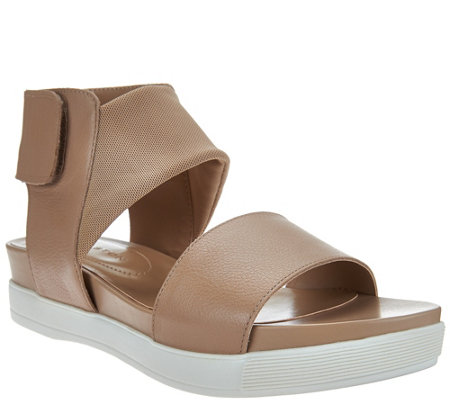 H by Halston Leather Sport Sandal with Mesh Strap - Erin