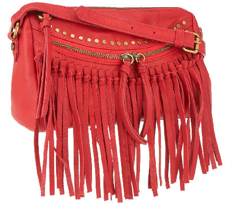 """As Is"" Joelle Hawkens by Treesje Leather Metro Fringe Crossbody"