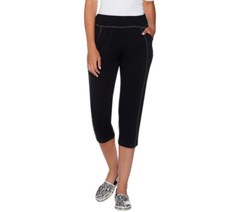 LOGO Lounge by Lori Goldstein Lightweight French Terry Capri Pants - A276635