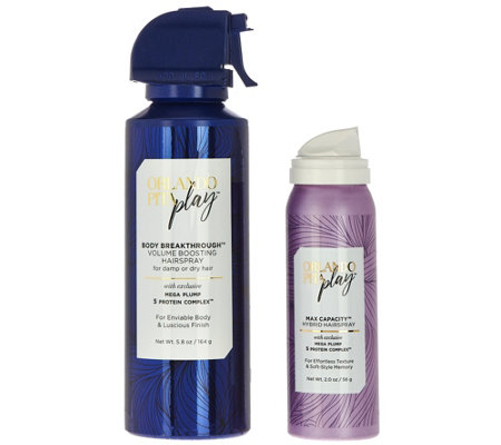 Orlando Pita Play Volumizing Spray 5.8 oz. with Travel Hairspray 2 oz.
