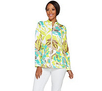 Susan Graver Weekend Printed French Terry Zip Front Jacket - A277835