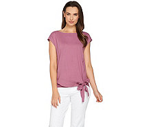 H by Halston Boat Neck Top with Side Tie Detail - A277935