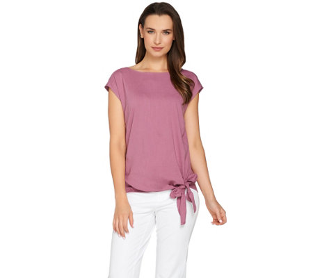 H by Halston Boat Neck Top with Side Tie Detail