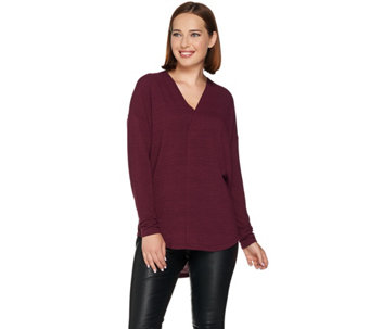 Lisa Rinna Collection Long Sleeve Hi-Low Cocoon Knit Top - A278935