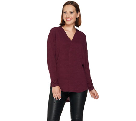 Lisa Rinna Collection Long Sleeve Hi-Low Cocoon Knit Top