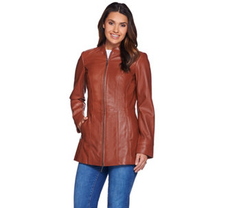 Denim & Co. Lamb Leather Petite Stand Collar Jacket w/ Seam Details - A279735