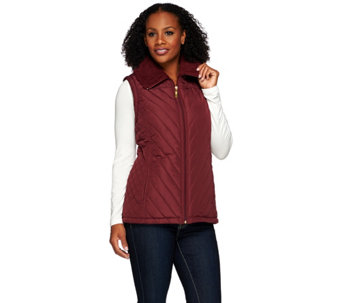 """As Is"" Denim & Co. Quilted Vest with Faux Sherpa Lining - A280035"