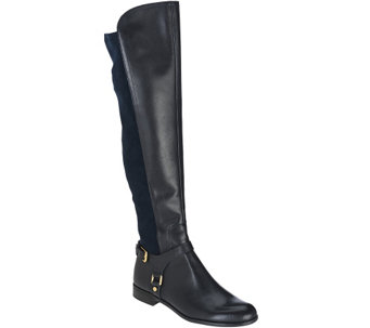 """As Is"" Franco Sarto Leather Tall Shaft Boots with Buckles - Mast - A280435"