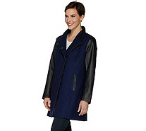 Dennis Basso Envelope Collar Wool Blend & Faux Leather Coat - A280535