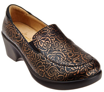 """As Is"" Alegria Leather Slip-ons with Side Goring - Emma - A280635"