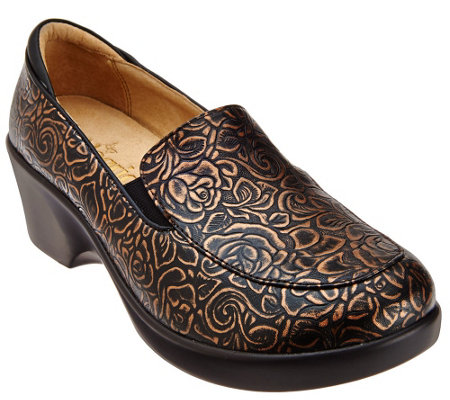 """As Is"" Alegria Leather Slip-ons with Side Goring - Emma"