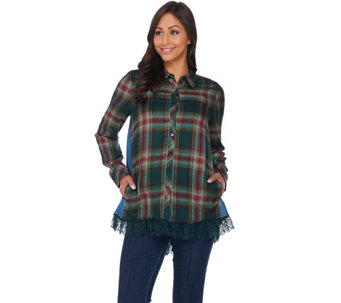 LOGO by Lori Goldstein Patchwork Button-Front Shirt - A283035