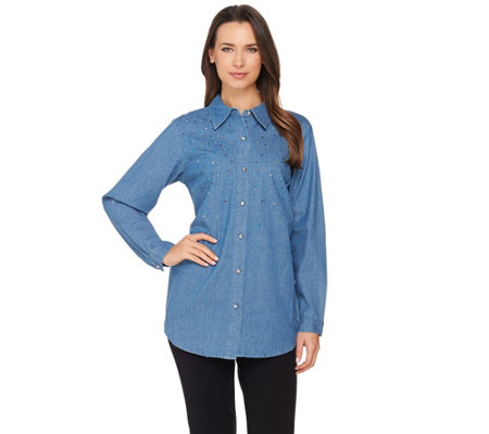 Quacker Factory Denim Shirt with Multi-Color Rhinestone