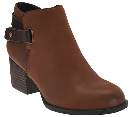 """As Is"" Sole Society Leather Ankle Boots w/ Strap Detail - Angie"
