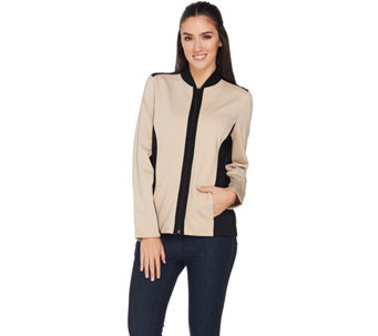 Susan Graver Ponte Knit Colorblock Zip Front Jacket - A285435