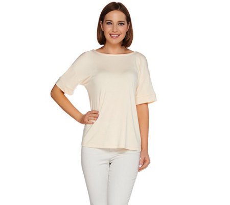 """As Is"" H by Halston Short Sleeve Knit Top with V-Back Detail"