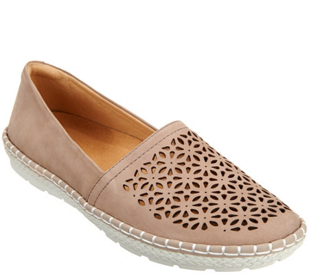 Earth Nubuck Leather Slip-on Espadrilles - Artemis