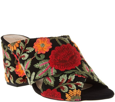 """As Is"" Sole Society Suede Peep-Toe Mules - Luella"