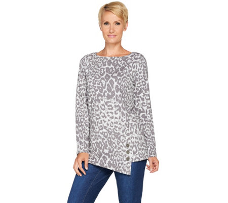 """As Is"" Susan Graver Weekend Printed French Terry Top with Button Detail"