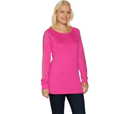 """As Is"" Quacker Factory Rhinestone Chic Raglan Sleeve Tunic"