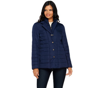 """As Is"" Dennis Basso Water Resistant Quilted Blazer - A291535"