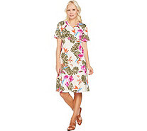 Denim & Co. Short Sleeve V Neck Empire Waist Tropical Print Dress - A291635