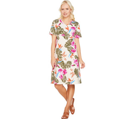 Denim & Co. Short Sleeve V Neck Empire Waist Tropical Print Dress