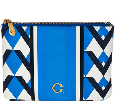 """As Is"" C. Wonder Graphic Geo Stripe Print Zip Top Pouch"