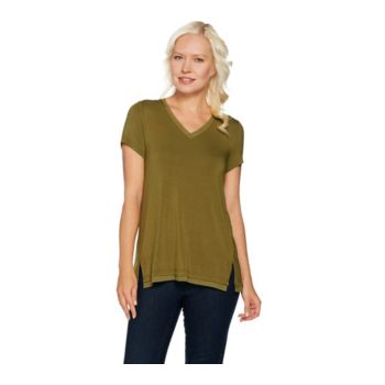 H by Halston Cap Sleeve V-neck T-shirt with Mesh Trim