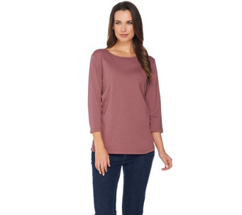 """As Is"" Denim & Co. Essentials 3/4 Sleeve Round Neck Top - A292335"