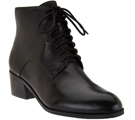 """As Is"" Isaac Mizrahi Live! Leather Lace Up Ankle Boots"