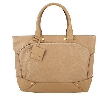 """As Is"" Allibelle Bubble Leather Plateau Tote"