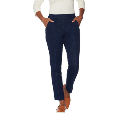 """As Is"" Isaac Mizrahi Live! Regular Knit Denim Pull-On Ankle Jeans"