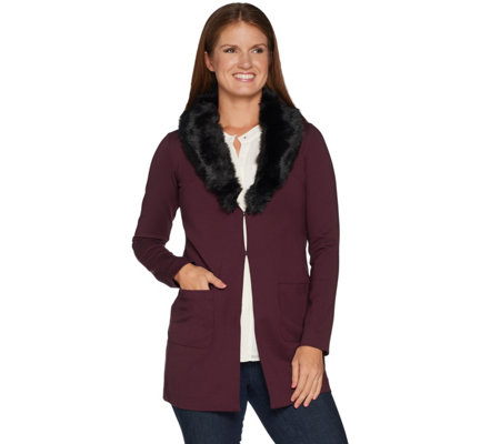 Kelly by Clinton Kelly Ponte Jacket w/ Removable Faux Fur Collar