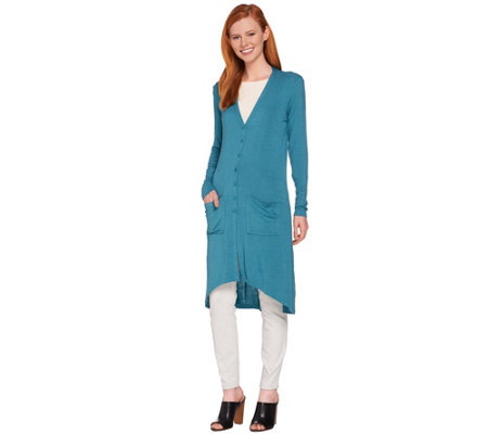 """As Is"" Lisa Rinna Collection Hi-Low Knit Duster Cardigan"