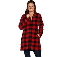 Denim & Co. Petite Plaid Sherpa Lined Fleece 2-Way Zip Up Jacket - A299335