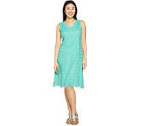 """As Is"" Isaac Mizrahi Live! Regular Scallop Lace Knee Length Dress - A300435"