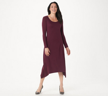 G.I.L.I. Peached Knit Long Sleeve Scoop Neck Maxi Dress