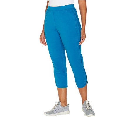 Denim & Co. Active French Terry Curved Hem Crop Pant